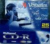 25 Stuks Verbatim CD-R 700mb 32x Speed Slim Case